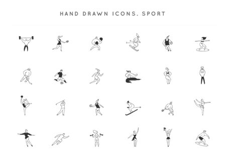 Set of vector hand drawn icons. People in different sports. Active way of life. Archivio Fotografico - 138155241