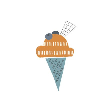 Hand drawn ice cream with topping in a waffle cone. Isolated object, vector illustration. Illustration
