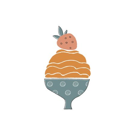 Vector illustration, isolated object. Big tasty ice cream in a vase with a strawberry on top. Illustration