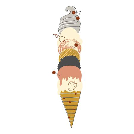 Big ice cream in a waffle cone with many balls. Vector hand drawn illustration, isolated object. Ilustracja