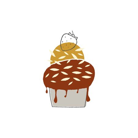 Tasty ice cream in a cup with topping and a strawberry on top. Isolated object, vector illustration. Ilustracja