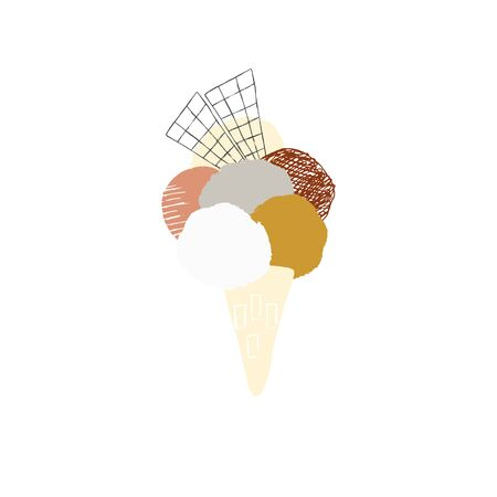 Vector illustration, isolated object. Big ice cream in a waffle cone.
