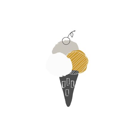 Big tasty ice cream with a cherry in a waffle cone. Vector illustration, isolated object.