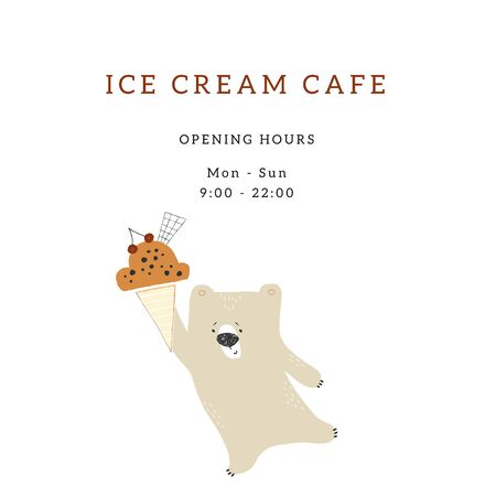 Vector template for cafe or shop with hand drawn illustration. Little cute polar bear with ice-cream. Illustration