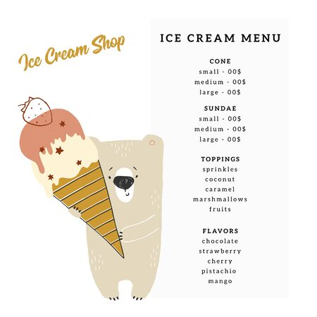 A menu template for cafe or shop with hand drawn vector illustration of little cute polar bear with ice-cream. Ilustracja