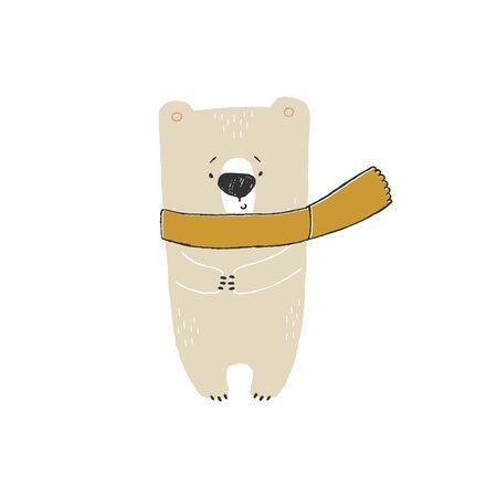 Vector hand drawn winter illustration, isolated object. Little cute polar bear in a scarf. Zdjęcie Seryjne - 136487334