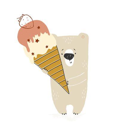 Isolated object, vector hand drawn illustration. Little polar bear with big ice cream. Ilustracja