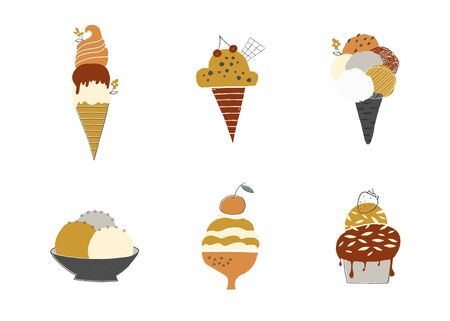 Tasty ice cream in waffle cones and cups. Vector set of isolated illustrations. Ilustracja