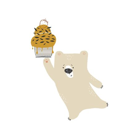 Vector hand drawn illustration, isolated object. Cute little polar bear with ice cream.