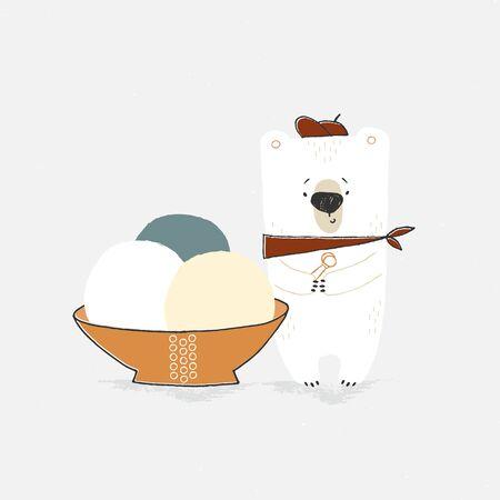 Isolated object, vector illustration. Little hand drawn polar bear with big ice-cream.