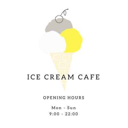 A template for shop or cafe with vector illustration of hand drawn ice-cream. Illustration
