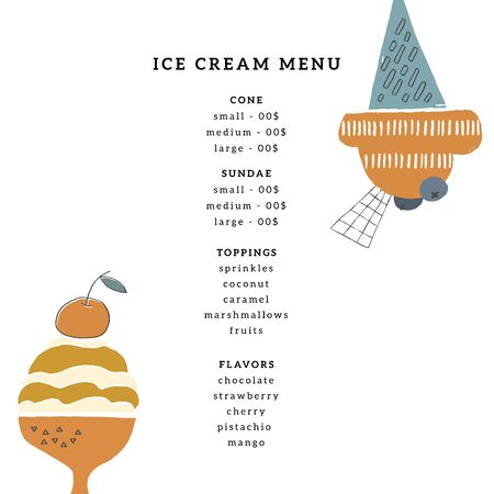 Vector menu template for cafe or shop with hand drawn ice-cream. Zdjęcie Seryjne - 136487349