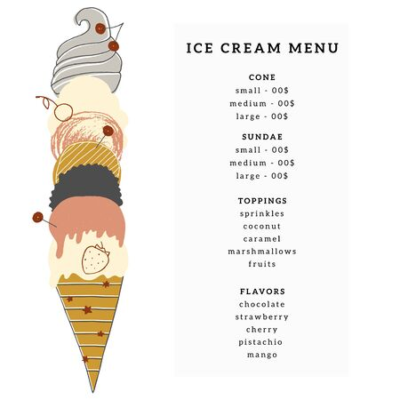 Vector menu template for cafe or shop with big hand drawn ice-cream cone.