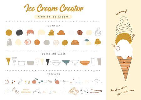 Big vector set of ice-cream elements. Ice cream creator.