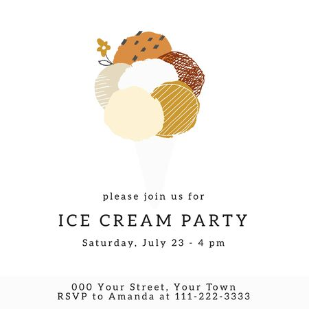 A party invitation template with vector illustration. Big hand drawn ice-cream in a waffle cone.