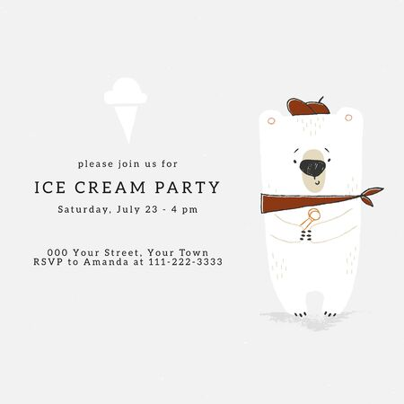 Vector ice Cream party invitation template with hand drawn illustration of little polar bear with big ice-cream. Zdjęcie Seryjne - 136487474