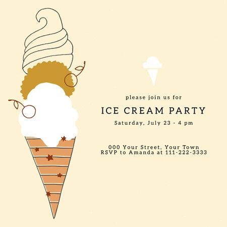 Ice Cream party invitation template with vector illustration. Big hand drawn dessert.