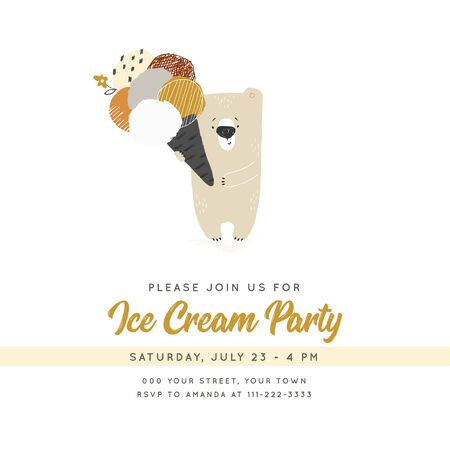 Ice Cream party template with vector hand drawn illustration. Cute little polar bear with big ice-cream. Illustration