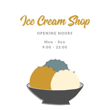 Vector template for cafe or shop with hand drawn ice-cream.