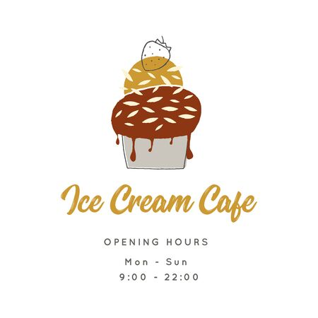 Simple vector template for shop or cafe with hand drawn ice-cream.