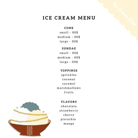 Vector cafe or shop menu template with hand drawn ice-cream.