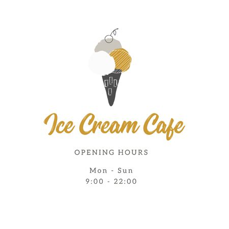 Vector template for shop or cafe with hand drawn ice-cream. Illustration