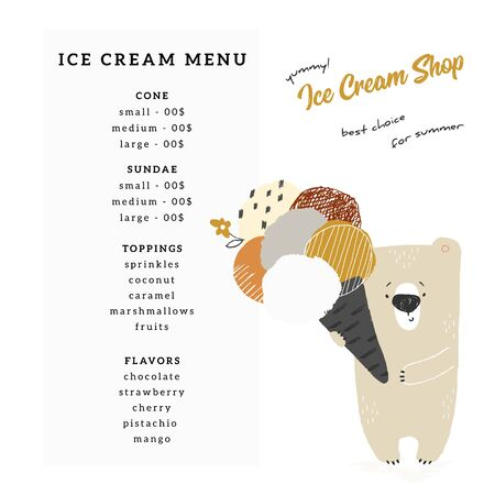 A menu template for shop or cafe with vector illustration of hand drawn little polar bear holding ice-cream.