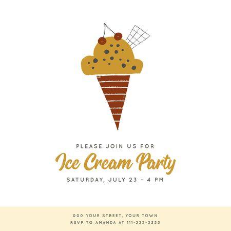 Ice Cream party invitation vector template with hand drawn illustration. Zdjęcie Seryjne - 136487487