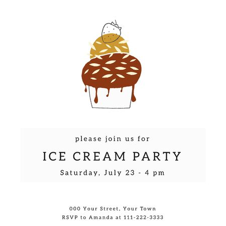 Big hand drawn ice cream with strawberry. A party invitation template with vector illustration.