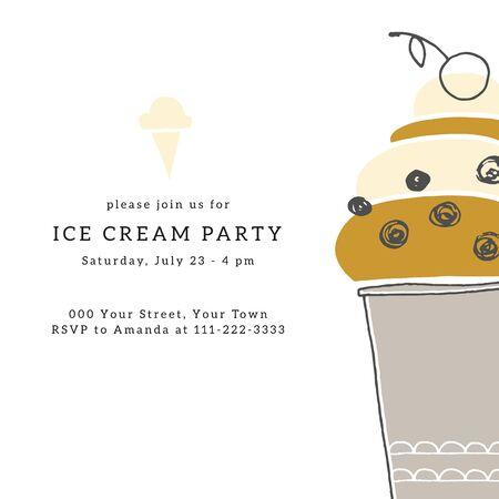 Big hand drawn ice cream. Ice-cream party invitation template with vector illustration.