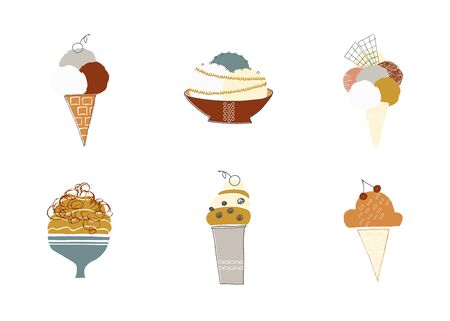 Yummy ice cream in waffle cones and vases. Vector set of isolated objects. Illustration