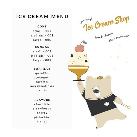 A menu template for shop or cafe with hand drawn vector illustration of little cute polar bear with ice-cream.
