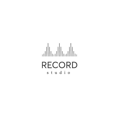 Music and sound record theme. Vector logo template with equalizer.