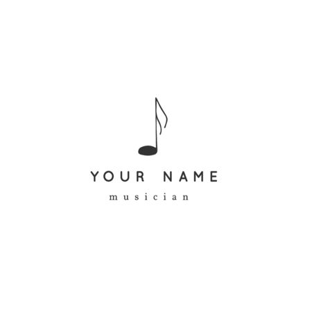 Music vector logo template with hand drawn note symbol. Zdjęcie Seryjne - 136487556