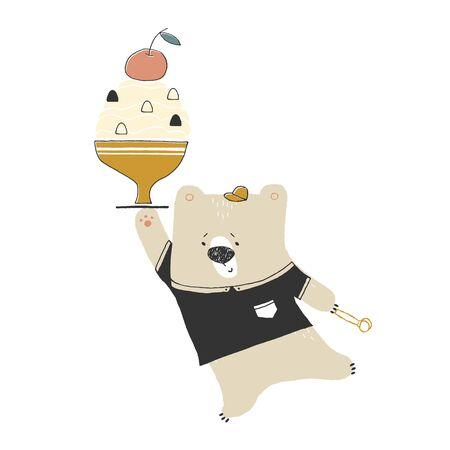 Vector hand drawn illustration, isolated object. Little cute polar bear with ice cream.