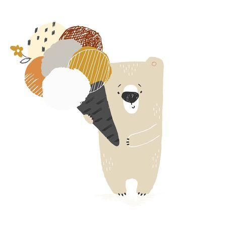 Cute little polar bear with big tasty ice cream. Isolated object, vector hand drawn illustration. Ilustracja