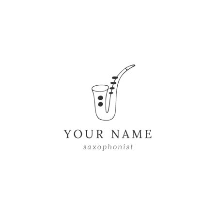 Jazz music template with hand drawn vector saxophone icon. Ilustracja