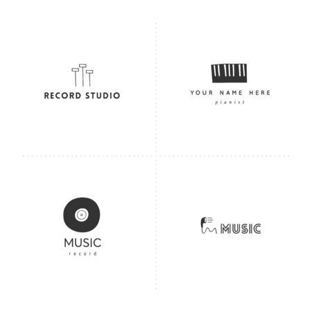 Set of  templates. Hand drawn vector music and sound record elements. Ilustracja