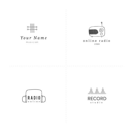 Set of vector templates. Hand drawn music and sound record elements. Ilustracja