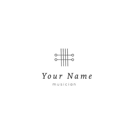 Vector hand drawn template with guitar strings icon. Music theme. Business identity and branding. For music shops and cafe, for musicians, performers and singers. Ilustracja