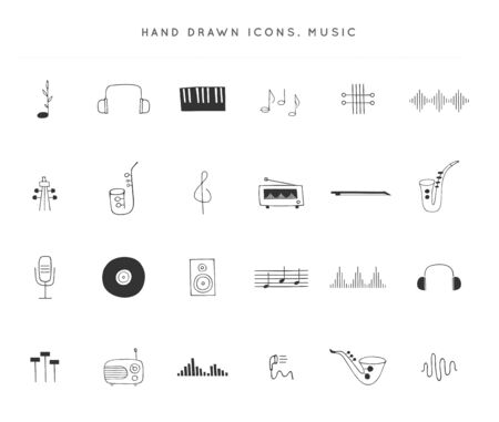 Set of vector hand drawn icons. Music   elements. For business identity and branding, for music shops and cafe, sound record studios, for musicians, performers and singers.