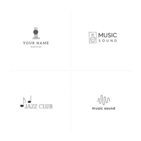 Vector set of hand drawn templates. Music and sound record elements. For music shops and cafe, sound record studios, for musicians, performers and singers. For business identity and branding.