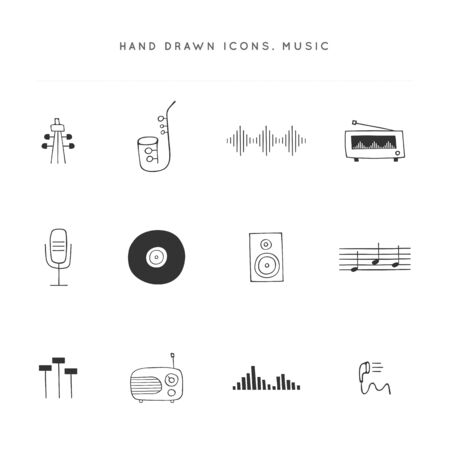 Vector music   elements. Set of hand drawn icons. Ilustracja