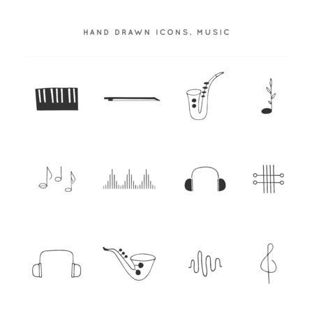 Music  elements. Set of vector hand drawn icons. Ilustracja