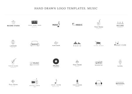 Set of hand drawn vector  templates. Music and sound record elements.