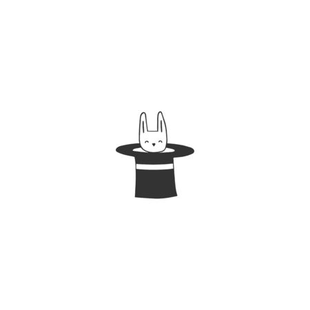 Hand drawn isolated icon. Rabbit in a hat element. Magic and fairy tales. Ilustracja