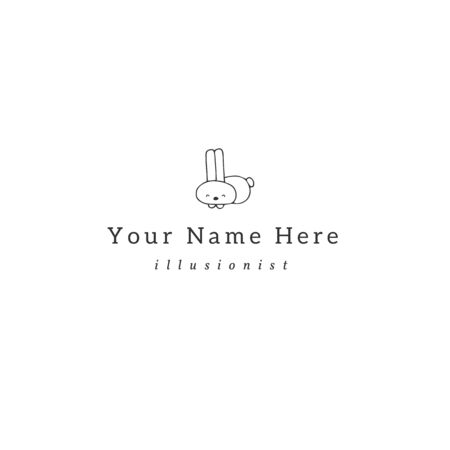 Vector logo template with a little white rabbit. Magic and fairy tales. Çizim