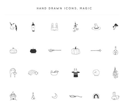 Set of hand drawn icons. Vector logo elements. Magic and fairy tales.