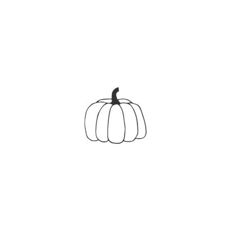 Vector logo element, isolated illustration. Hand drawn icon, a pumpkin.
