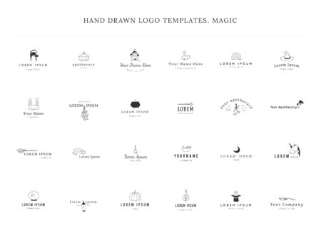 Set of vector templates with hand drawn elements. Magic and fairy tales.